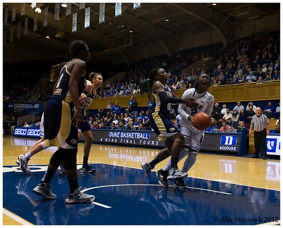 Alexis Jones (#2) guarded very closely <br /> Duke vs Georgia Tech WBB<br /> <br /> Cameron Indoor Stadium<br /> Duke University<br /> Durham, NC<br /> December 6, 2012