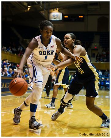 Elizabeth Williams (#1)<br /> Duke vs Georgia Tech WBB<br /> <br /> Cameron Indoor Stadium<br /> Duke University<br /> Durham, NC<br /> December 6, 2012