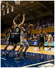 Elizabeth Williams (#1) about to score 2 of her 12 points against Danielle Hamilton-Carter (#10)<br /> Duke vs Georgia Tech WBB<br /> <br /> Cameron Indoor Stadium<br /> Duke University<br /> Durham, NC<br /> December 6, 2012
