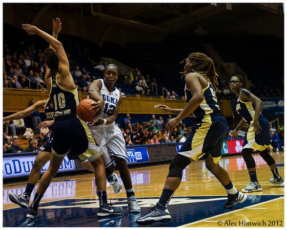 A very nifty Chelsea Gray (#12) pass<br /> Duke vs Georgia Tech WBB<br /> <br /> Cameron Indoor Stadium<br /> Duke University<br /> Durham, NC<br /> December 6, 2012