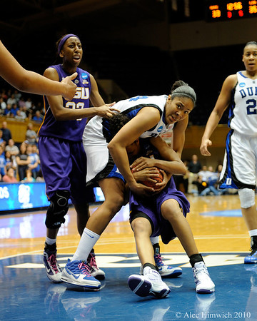 Krystal Thomas fights for a rebound in the second half of the Women's NCAA Regional Championship.<br /> <br /> Cameron Indoor Stadium<br /> <br /> Duke University<br /> <br /> March 22, 2010