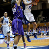 Jasmine Thomas (5) shoots against Taylor Turnbow(35) in the second half of the Women's NCAA Regional Championship.<br /> <br /> Cameron Indoor Stadium<br /> <br /> Duke University<br /> <br /> March 22, 2010