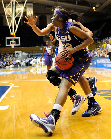 LSU's Allison Hightower 23) looks for an opportunity to score early in the first half of the Women's NCAA Regional Championship.<br /> <br /> Cameron Indoor Stadium<br /> <br /> Duke UniversityMarch 22, 2010