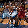 Krystal Thomas (DUke, 34) grabbing a rebound<br /> Cameron Indoor Stadium<br /> Duke University<br /> Durham, NC <br /> January 6, 2011