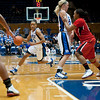 Kathleen Scheer blocks for Jasmine Thomas (Duke, 5).<br /> <br /> Cameron Indoor Stadium<br /> Duke University<br /> Durham, NC <br /> January 6, 2011