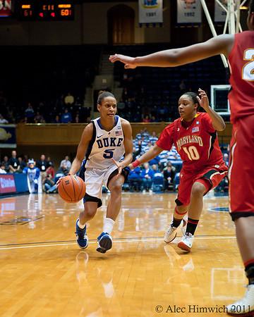 Anjale Barrett (Maryland, 10) defending against Jasmine Thomas (Duke, 5) <br /> Cameron Indoor Stadium<br /> Duke University<br /> Durham, NC <br /> January 6, 2011