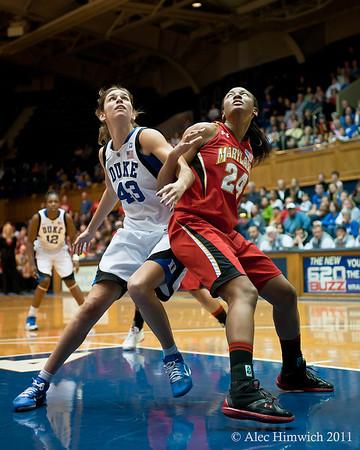 Allison Vernerey (Duke, 43) and Diandra Tchatchouang (Maryland, 24) getting rebounding position<br /> <br /> Cameron Indoor Stadium<br /> Duke University<br /> Durham, NC <br /> January 6, 2011