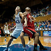 Allison Vernerey (Duke, 43) and Diandra Tchatchouang (Maryland, 24) getting rebounding position<br /> <br /> Cameron Indoor Stadium<br /> Duke University<br /> Durham, NC <br /> January 6, 2011