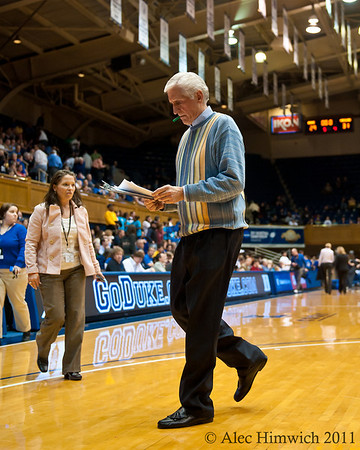 Duke Assistant Coach Al Brown with the sweater of the game.<br /> <br /> Cameron Indoor Stadium<br /> Duke University<br /> Durham, NC <br /> January 6, 2011