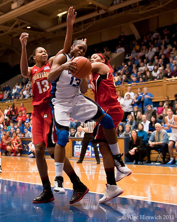 Karmina Christmas (DUke, 13) grabs an offensive rebound.l<br /> Cameron Indoor Stadium<br /> Duke University<br /> Durham, NC <br /> January 6, 2011