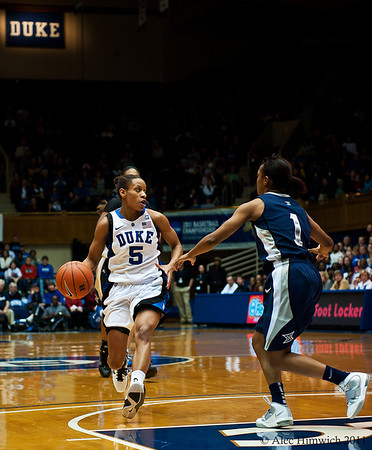 Jasmine Thomas (Duke, 5) bringing the ball up court.<br />  <br /> Cameron Indoor Stadium<br /> Duke University<br /> Durham, NC <br /> December 21, 2010