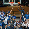 Amber Harris (Xavier, 11) scoring one of her 10 field goals.<br /> <br /> Cameron Indoor Stadium<br /> Duke University<br /> Durham, NC <br /> December 21, 2010