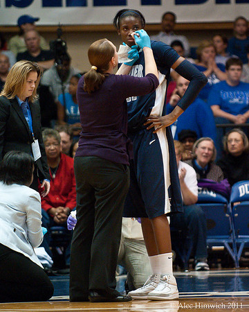 Amber Harris was a dominant player at both ends of the court.  She got clobbered during the first half and had to sit out a few minutes.  With her 22 points and 15 rebounds, the outcome of the game could have easily been different  if she were out for a longer time.<br /> <br /> Cameron Indoor Stadium<br /> Duke University<br /> Durham, NC <br /> December 21, 2010