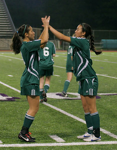 Christine Horne, Christina Gonzalez Woodinville High Girls Varsity Soccer verse Issaquah High October 6, 2011   ©Neir