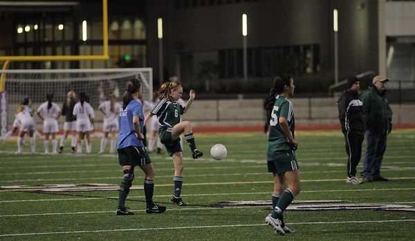 Maggie Stinson, Emily Neubert, Christina Gonzalez Woodinville High Girls Varsity Soccer verse Issaquah High October 6, 2011   ©Neir