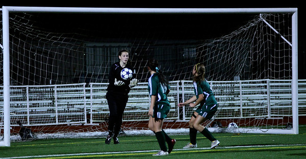 Molly Stinson, Megan McCallum, Alex Blaser  Woodinville High Girls Varsity Soccer verse Skyline High October 20, 2011, ©Neir