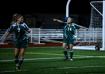 "Maddie Jones, Katrina ""Kat"" Neir  Woodinville High Girls Varsity Soccer verse Skyline High October 20, 2011, ©Neir"