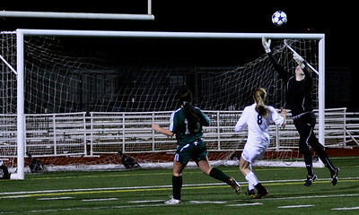 Molly Stinson, Megan McCallum  Woodinville High Girls Varsity Soccer verse Skyline High October 20, 2011, ©Neir