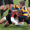Kevin Harris of the Westerville Worms looks to set the ball during the Ohio Rugby Classic at Lou Berliner Park on Saturday.