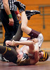 It's a question of who will pin who in this 112 lbs match between Dobyns Bennett's Austin Mann and David Crockett''s Thomas Snyder. Photo by Ned Jilton II