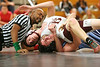 Jacob Fry of Dobyns Bennett leans out to hold Grant Gibson of Sullivan South. Photo by Erica Yoon