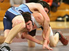 Jacob Fry (DB) wrestles with Grant Gibson of Sullivan South in the 130 pound division. Photo by Erica Yoon