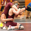 It's a question of who has who as Science Hill's Jonathan Peirce, upside down, and Dobyns Bennett's Adam Mann tangle in the 119 lbs weight class. Photo by Ned Jilton II (again check the names against the results as I was getting them second handed from the announcer)
