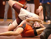 Dobyns Bennett's Bryson Begley goes for a tumble but recovers to pin Cocke County's Leo Woods in the 145 lbs class match. Photo by ned Jilton II