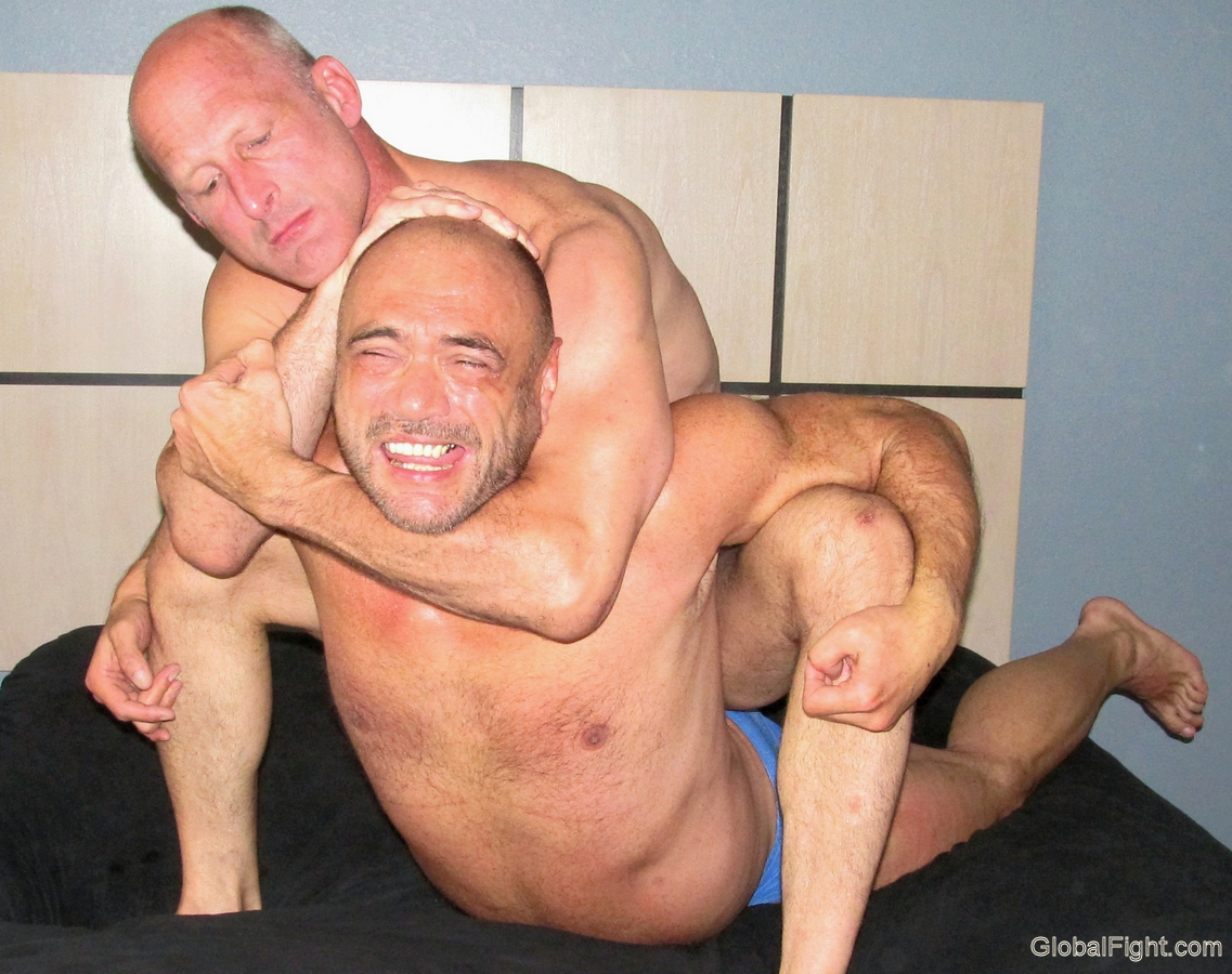 handsome gay men choking dad fights