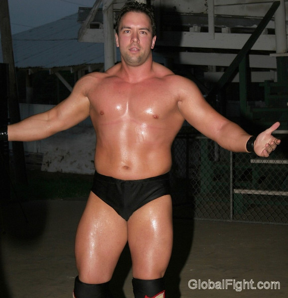 a sweaty pro wrestling man hot stocky husky wrestler sweating