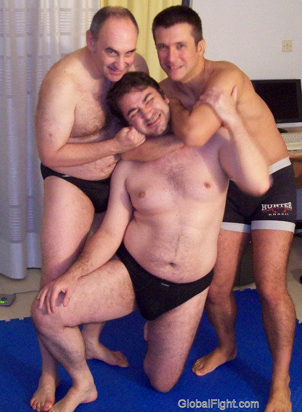 a threeway bears cubs wrestling home fights