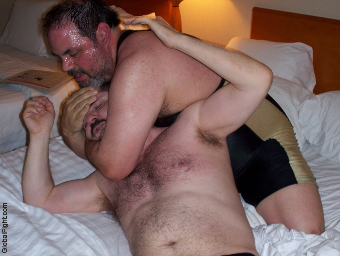 a stocky fat gay men sleeper holds wrestling