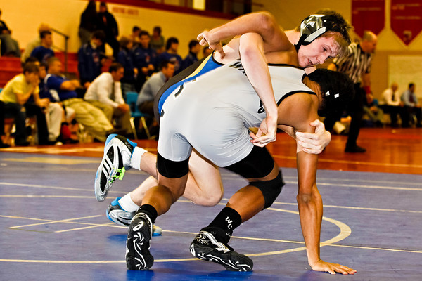 Olentangy High School's Anthony Fosco wrestles with Westerville Central High School's Kyle Winston in the 140 lb. weight class during their match up at the Super Dual Meet Thursday night January 6, 2011 at Westerville South High School.   Fosco won the match.