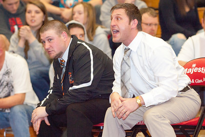 Milton coaches instruct their wrestlers during the Northeast AA PIAA wrestling tournament in Williamsport on Saturday.