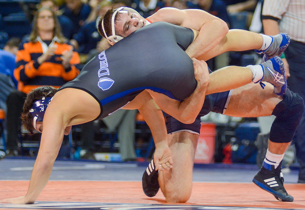 Bucknell's Chad Reese takes down Franklin and Marshall Jimmy Stillerman during their 174 lb match on Tuesday night at the Sojka Pavilion.