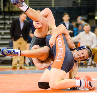 Bucknell's D.J. Hollingshead slams Franklin and Marshall's Michael Marano to the mat during their 165lb match inside the Sojka Pavilion on Tuesday night.
