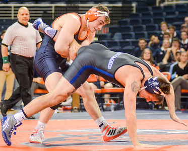 Bucknell's D.J. Hollingshead won't let Franklin and Marshall's Michael Marano escape during their 165lb match inside the Sojka Pavilion on Tuesday night.
