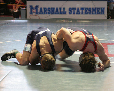 Whizzer to the mat.  Daniel Fissmer versus Woodson for the 2005 Liberty District Championship match.