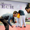 Monty Tech freshman Tyler Popp (left) wrestles against teammate Dennis Begley, a junior, during practice on Monday.<br /> SENTINEL & ENTERPRISE / BRETT CRAWFORD