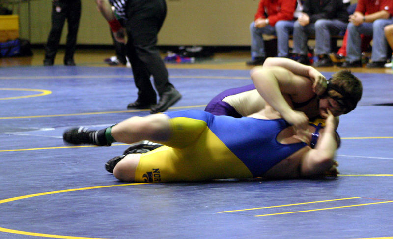 Gavin trying to pin his Davenport North opponent
