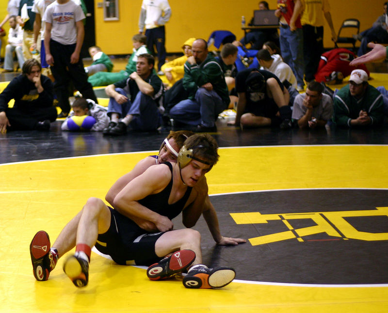 Nolan trying to control his opponent at Riverdale