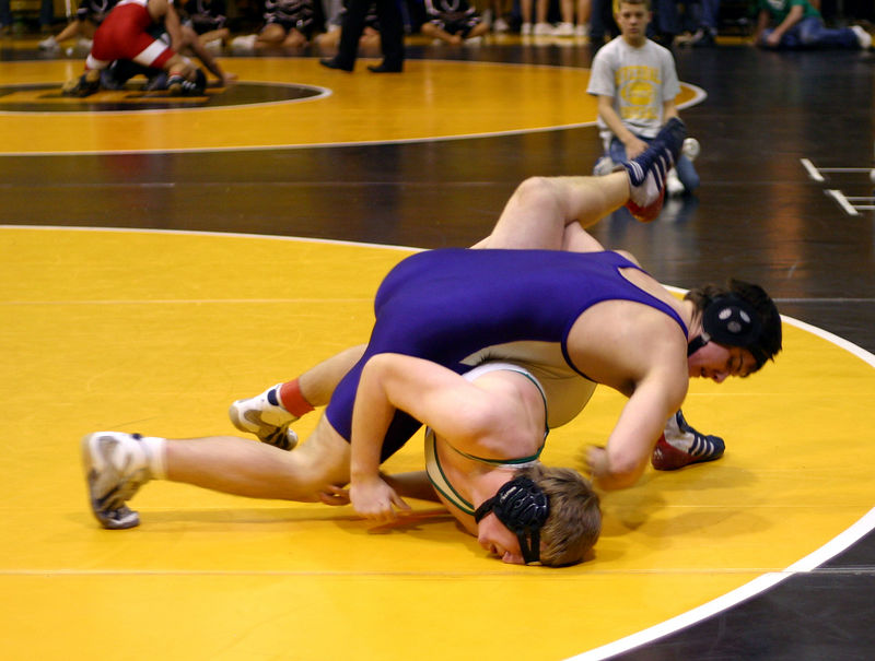 Gavin trying to pin his opponent