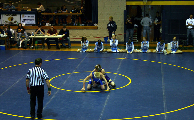 Nolan on top of his opponent in Cascade.