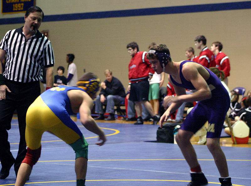 Jon Vick against his Davenport North opponent