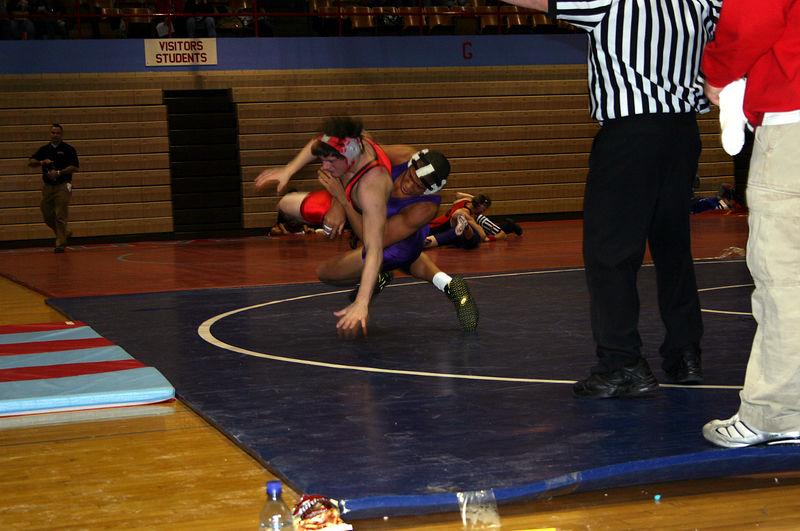 Jarrell throwing his opponent at Dubuque.