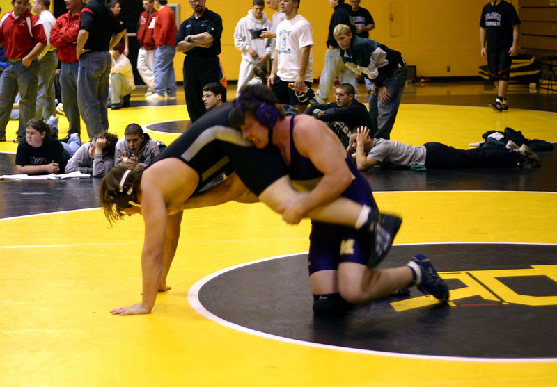 Mike Tobias trying to keep his opponent down