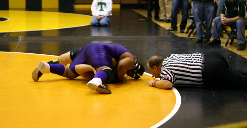 Hiram pinning his opponent at Riverdale