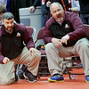 WARREN DILLAWAY / Star Beacon<br /> Pymatuning Valley wrestling coach David Miller (left) and his assistant David Bendedict cheer Gaige Willis during a 182 pound bout during the Division III Ohio High School State Wrestling Tournament at the Schottenstein Center in Columbus on Friday morning.