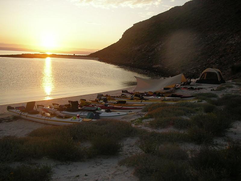 Expedition camps on Isla Esperito Santo on the Sea of Cortez