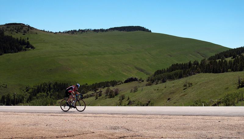 Bill near the unusually green summit
